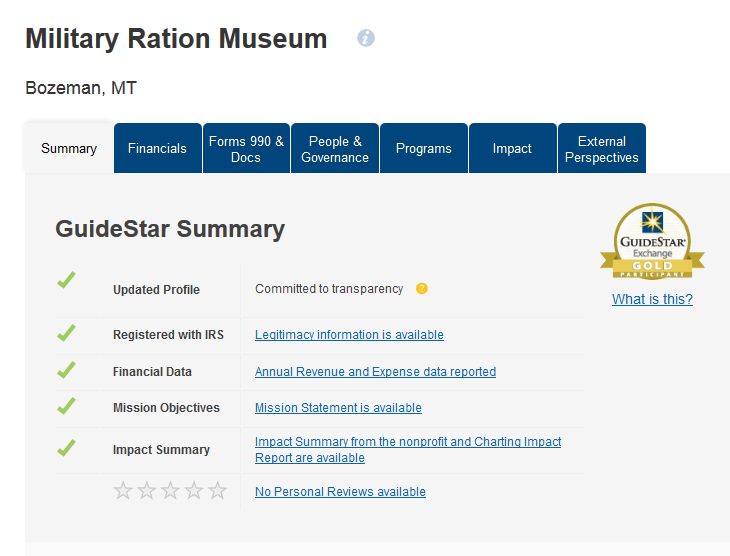 Gold Rating From Guidestar